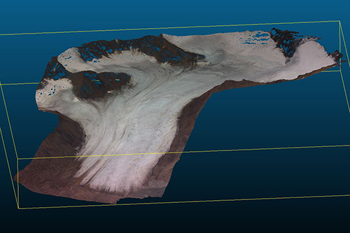 Point Cloud of Midtre Lovénbreen from a GoPro flight, processed with MicMac
