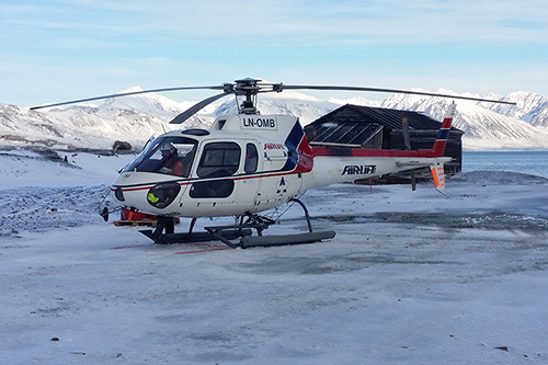 Helicopter ready to take off from Ny Ålesund for a GoPro survey in September 2014