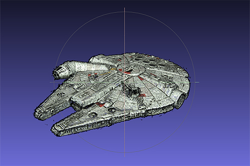 Millenium Falcon from the end scene of Star Wars V, modeled with MicMac